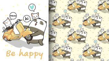Un panda kawaii sans couture soulève un motif de moto vecteur