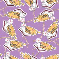 Chat mignon sans soudure est modèle d'apprentissage. vecteur