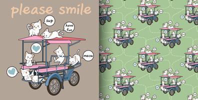 Modèle sans couture de chats et de véhicules de fret kawaii