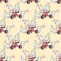 Chats kawaii sans couture avec un motif de tricycle rose vecteur