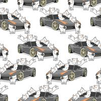 Chats sans couture kawaii et modèle de voiture automatique.