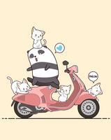 Panda de cavalier et chats mignons avec la moto rose. vecteur