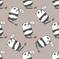 Un panda sans couture est un motif choqué. vecteur