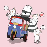 Pandas et chats Kawaii avec tricycle à moteur vecteur