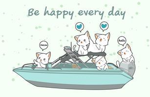 Kawaii les chats dans le bateau de vitesse vecteur