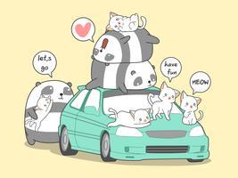 Panda Kawaii et chats avec voiture en vacances.