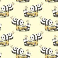 Trois personnages de panda kawaii sans couture avec un motif de voiture vecteur
