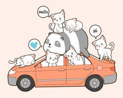 Chats mignons et panda avec voiture en style cartoon.