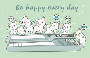 Kawaii chats dans le ferry vecteur
