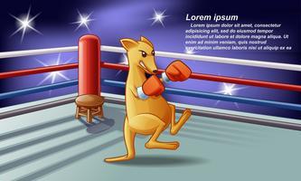 Personnage de boxeur kangourou en style cartoon. vecteur