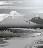Paysage d'encre à la japonaise. vecteur