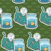 Motif de chat et de poisson coquine sans soudure. vecteur
