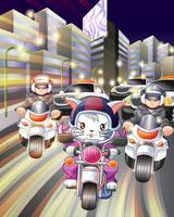 Personnage de chat cavalier en style cartoon.