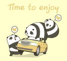3 personnages de panda kawaii avec une voiture