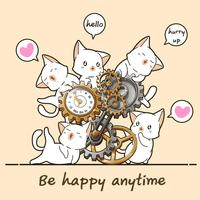 Kawaii chats et horloge vecteur