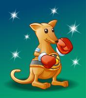 Personnage de kangourou champion en style cartoon. vecteur