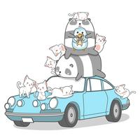 Personnages d'animaux Kawaii et voiture. vecteur
