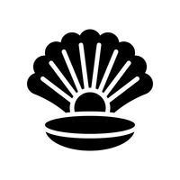 Coquillage avec vecteur de perles, icône de style solide connexe tropical