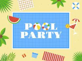 Pool party, vue de dessus vecteur de piscine
