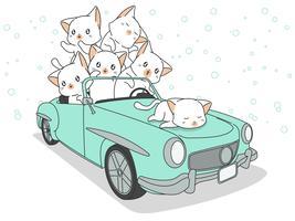 Dessiné des chats kawaii en voiture bleue. vecteur