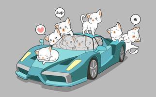 Chats mignons et super voiture bleue