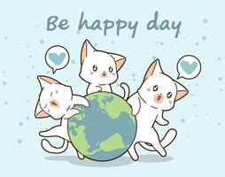 3 chats kawaii aiment le monde