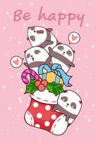 Kawaii happy pandas est dans une chaussette vecteur