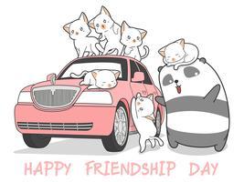 chats kawaii dessinés et panda avec voiture rose.