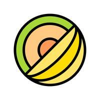 Vecteur de melon, icône de style rempli connexe tropical