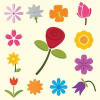 symbole de fleurs colorées vecteur