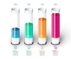 Barres graphique infographie avec tube de verre 3d coloré. vecteur