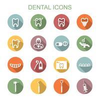 icônes de longue ombre dentaire vecteur