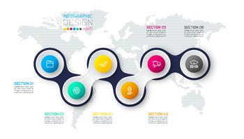 Cercle lié avec infographie icône affaires sur fond de carte mondial.