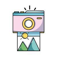 appareil photo numérique avec image d'art vecteur