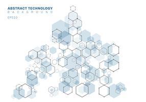 Structure moléculaire hexagonale bleue abstraite du système de neurones. Contexte de la technologie numérique. Modèle géométrique futur. vecteur