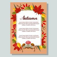affiche nature automne et feuilles plates