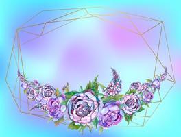 Le cadre est rond. Des roses. Or. Illustration vectorielle Vecteur. vecteur