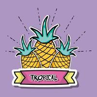 ananas tropical patchs conception de fruits vecteur