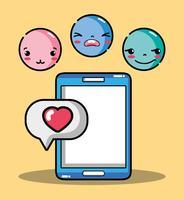 smartphone avec émotion emoji visages caractère