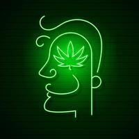 Médical Cannabis Logo Feuille Néon Lumineux.
