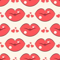Modèle de lèvres. Modèle sans couture de vecteur avec rouge femme embrasser des lèvres plates.