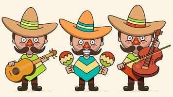 Illustration vectorielle de musiciens mexicains avec trois hommes avec des guitares en vêtements autochtones et vecteur plat Sombrero