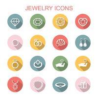 icônes de longue ombre de bijoux vecteur