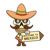 Illustration vectorielle de dessin animé mexicain crâne pour Dia De Los Muertos. Crâne masculin mignon