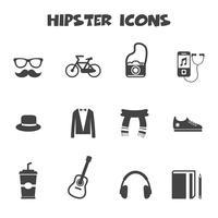 symbole d'icônes hipster vecteur