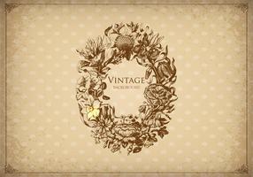 Vecteur de fond de cadre gravé floral vintage