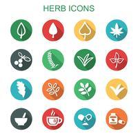 icônes de l'ombre portée des herbes vecteur