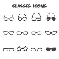 symbole d'icônes de lunettes vecteur