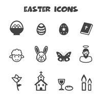 symbole d'icônes de Pâques vecteur