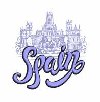 Voyage. voyage en Espagne. Ville de Madrid. Esquisser. Cybele Palace et la fontaine de la Plaza Cibeles à Madrid, en Espagne. Concept de design pour l'industrie du tourisme. Illustration vectorielle vecteur